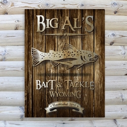 Personalized Trout Rustic Wood Cabin Canvas