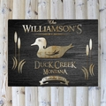 Personalized Wood Duck Black Wood-Grain Cabin Canvas