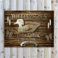 Personalized Wood Duck Rustic Wood Cabin Canvas