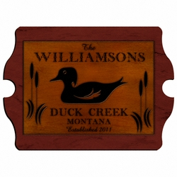 Personalized Wood Duck Vintage Cabin Sign