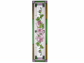 Pink Roses Inspirational Stained Glass Art Panel