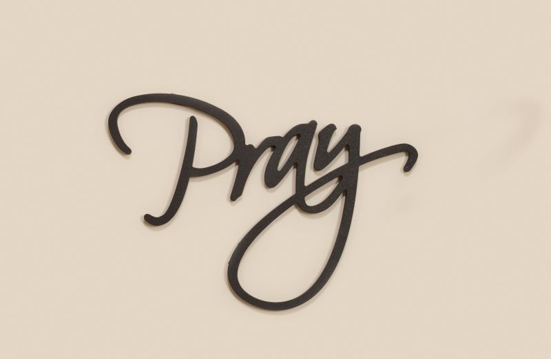 Pray Carved Script Word Home Decor