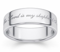 Psalm 23 Bible Verse Wedding Ring - Sterling Silver