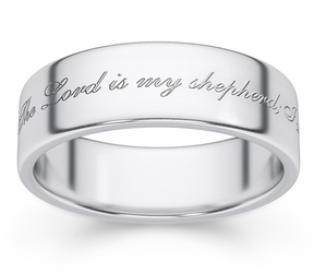 Psalm 23 Bible Verse Wedding Ring - White Gold