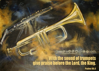 Psalm 98:6 - Inspirational Images by Ruth Bush
