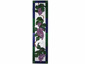 Purple Grapevine Inspirational Stained Glass Panel