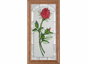 Red Rosebud Stained Glass Panel