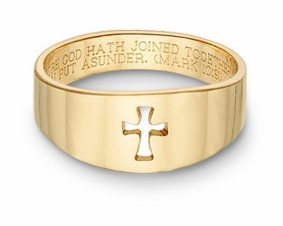 The Romanesque Cut Out Christian Cross Bible Verse Ring 14k Yellow Gold
