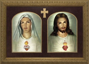 Sacred and Immaculate Hearts (Matted Together) - 2 Framed Options