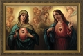 Sacred and Immaculate Hearts (Surrounded by Angels) - 3 Framed Options