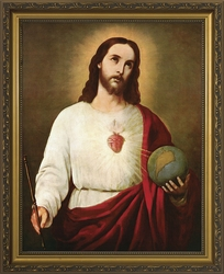 Sacred Heart (Holding the Globe) - Framed Christian Art