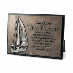 Sailboat Sculpture Plaque - Christian Home Decor
