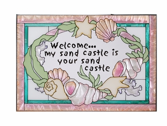"""""""Sand Castle Welcome"""" Pink Stained Glass Art Panel"""
