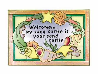 """""""Sand Castle Welcome"""" Yellow Stained Glass Art"""