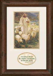 Shepherd by Warner Sallman with Bible verse - Framed Christian Art