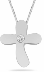 Small Diamond Solitaire Cross Pendant in 14K Gold