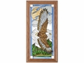 Soaring Eagle in Sky Patriotic Stained Glass Art Panel