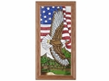 Soaring Eagle with Flag American Stained Glass Art