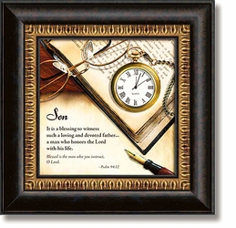Son Psalm 94:12 Framed Table Clock by Heartfelt