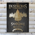 Personalized Spruce Black Wood-Grain Cabin Canvas