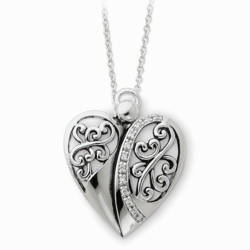 Sterling Silver Antiqued 18in Angel of Love Necklace