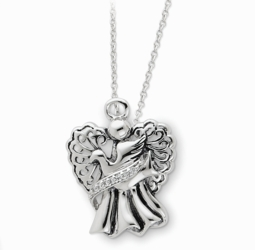 Sterling Silver Antiqued Angel of Faith 18in Necklace