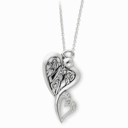 Sterling Silver Antiqued Angel of Protection 18in Necklace