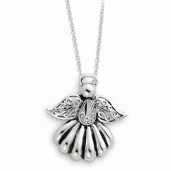 Sterling Silver Antiqued Angel of Remembrance 18in Necklace
