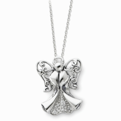 Sterling Silver Antiqued Angel of Strength 18in Necklace