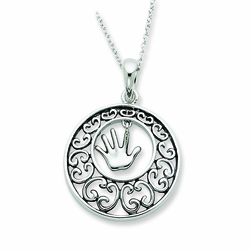 Sterling Silver Antiqued Children 18in Necklace