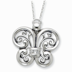 Sterling Silver Antiqued CZ Angel of Courage 18in Necklace