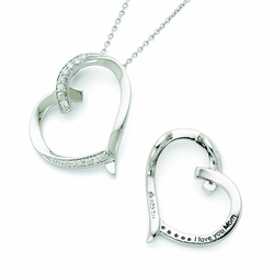 Sterling Silver Antiqued CZ Love You Mom 18in Necklace