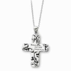 Sterling Silver Antiqued Remain in Me 18in Cross Necklace