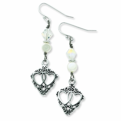 Sterling Silver Antiqued Two Hearts, One Love Dangle Earrings