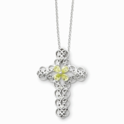 Sterling Silver Aug. CZ Birthstone Message of the Cross 18in Necklace