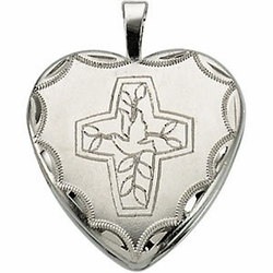 Sterling Silver Cross w/Dove Locket