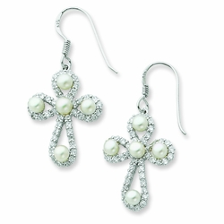 Sterling Silver Cultured Pearl & CZ Pearls of Purity Cross Earrings