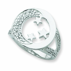 Sterling Silver & CZ I Promise You the Moon and Stars Ring