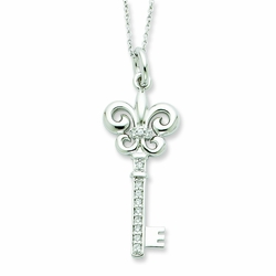 Sterling Silver CZ Key To Purity 18in Necklace