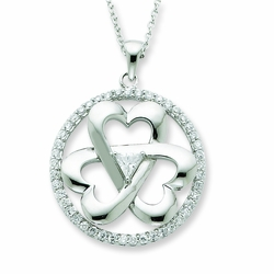 Sterling Silver CZ Legacy Of Love 18in Necklace