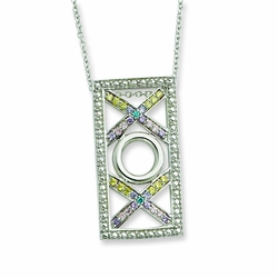 Sterling Silver CZ Love and Kisses 18in Necklace