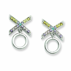 Sterling Silver CZ Love and Kisses Earrings