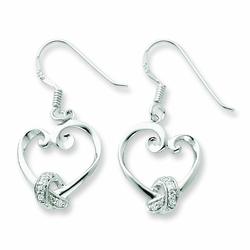 Sterling Silver & CZ Loveknots Dangle Earrings