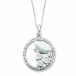 Sterling Silver CZ Promise Of Patience 18in Necklace
