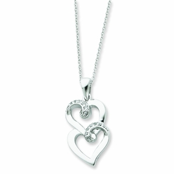 Sterling Silver & CZ To My Sister 18in Heart Necklace