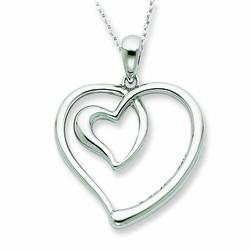 Sterling Silver Follow Your Heart 18in Necklace