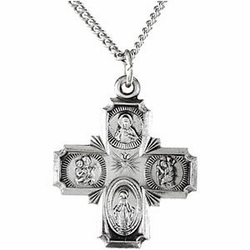 Sterling Silver Four Way Medal with Chain
