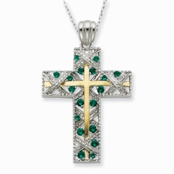 Sterling Silver & Gold-plated CZ Planted In Faith Cross 18in Necklace
