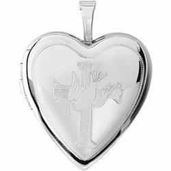 Sterling SIlver Heart Locket Engraved with Cross and Dove