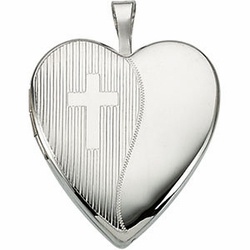 Sterling Silver Heart Locket w/Cross